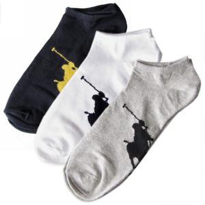 メール便可250円 ポロ ラルフローレン メンズ ソックス 靴下 3足セット ホワイト ブラック グレー 827025PK ASST|alevelshop