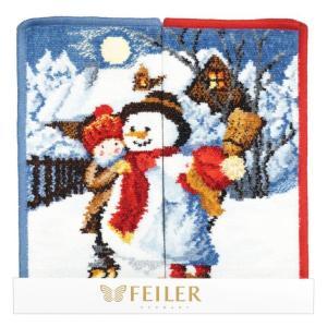 フェイラー ハンカチ FEILER ハンドタオル 25cm ギフトにぴったりな2枚セット 2017年限定 クリスマス ウィンターデイ レッド&ブルー|alevelshop
