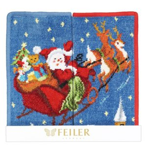 フェイラー ハンカチ FEILER ハンドタオル 25cm ギフトにぴったりな2枚セット 2017年限定 クリスマス サンタ レッド&ブルー|alevelshop