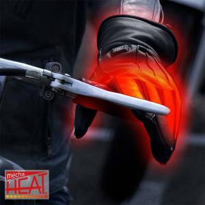 バイク用 電熱グローブ メンズ 充電式 ヒーター手袋 本革 ガントレット レザー 防寒 ブラック 全3サイズ めちゃヒート通勤 暖かい 自転車 通学|alg-select