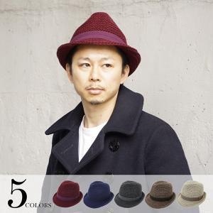 3ゲージガーター中折れ帽 メンズ イタリア糸 帽子 全5色 FREEサイズ 58cm 男性 秋冬物 紳士 プレゼント alg-select