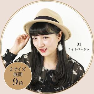 中折れ帽子 レディース ソフト帽 リボン付き ウール100% 9色 Mサイズ 56~58cm Lサイズ 58~60cm 女性 ギフト|alg-select