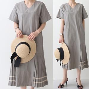 ワンピース レディース 40代 50代 60代 ファッション おしゃれ 女性 上品  黒  グレー ロング丈 プリーツ 半袖 きれいめ 春夏 ミセス alice-style