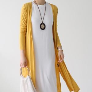 カーディガン レディース 40代 50代 60代 ファッション おしゃれ 女性 上品  黒  白  イエロー  黄色  グレー ロング丈 ロングカーディガン 無地 春夏 ミセス alice-style