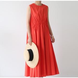 ワンピース レディース 40代 50代 60代 ファッション おしゃれ 女性 上品  赤 ノースリーブ 無地 ロング丈 きれいめ Aライン 春夏 ミセス alice-style