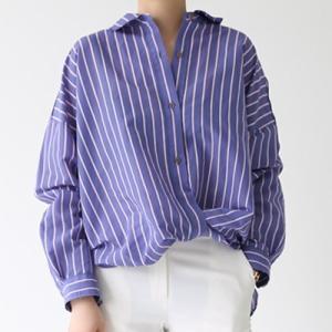 ブラウス レディース 40代 50代 60代 ファッション おしゃれ 女性 上品 シャツ ゆったり ストライプ 長袖 体形カバー 春夏 ミセス alice-style