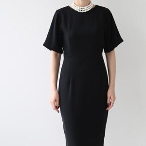 ワンピース レディース 40代 50代 60代 ファッション おしゃれ 女性 上品  黒 無地 半袖 フォーマル 膝丈 きれいめ 春夏 ミセス alice-style