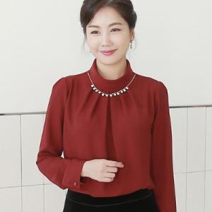 ブラウス レディース 40代 50代 60代 ファッション 女性 上品  黒  赤 プルオーバー 長袖 ビジューネック きれいめ お呼ばれ 春夏 ミセス|alice-style