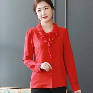 ブラウス レディース 40代 50代 60代 ファッション 女性 上品  黒  白  赤 フリル 無地 きれいめ 長袖 春夏 ミセス|alice-style