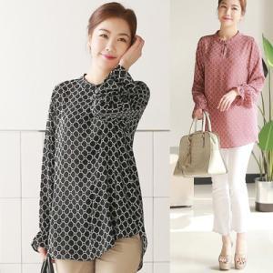 ブラウス レディース 40代 50代 60代 ファッション 女性 上品  黒 シャツ 柄 長袖 きれいめ 通勤 春夏 ミセス|alice-style