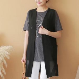 ベスト レディース 40代 50代 60代 ファッション 女性 上品  黒 ロング丈 ロング丈 きれいめ 春夏 ミセス|alice-style