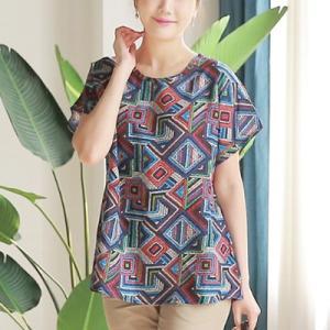 ブラウス レディース 40代 50代 60代 ファッション 女性 上品 トップス 半袖 幾何学模様 春夏 ミセス|alice-style