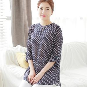ブラウス レディース 50代 60代 ファッション 女性 上品 幾何学模様 長袖 きれいめ 通勤 春夏 ミセス 大きいサイズ|alice-style