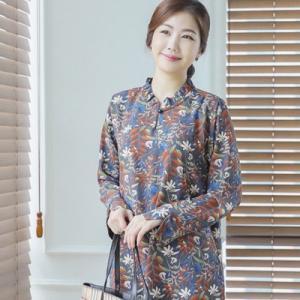 ブラウス レディース 40代 50代 60代 ファッション 女性 上品  黒  グレー 長袖 柄 きれいめ 春夏 ミセス|alice-style