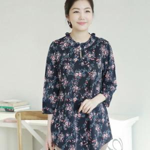 ブラウス レディース 40代 50代 60代 ファッション 女性 上品  赤  紺 青 花柄 長袖 きれいめ 通勤 春夏 ミセス|alice-style