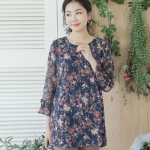 ブラウス レディース 40代 50代 60代 ファッション 女性 上品 花柄 長袖 きれいめ 通勤 春夏 ミセス|alice-style