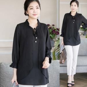 ブラウス レディース 50代 60代 ファッション 女性 上品  黒 シャツ 無地 長袖 きれいめ 通勤 春夏 ミセス 大きいサイズ|alice-style