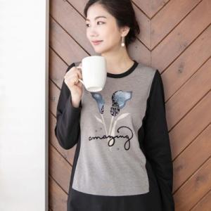 Tシャツ レディース 40代 50代 60代 ファッション 女性 上品  黒 トップス 花柄 きれいめ 長袖 春夏 ミセス|alice-style