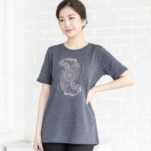 Tシャツ レディース 40代 50代 60代 ファッション 女性 上品  黒  グレー トップス 半袖 きれいめ ラインストーン キラキラ ビジュー 春夏 ミセス|alice-style