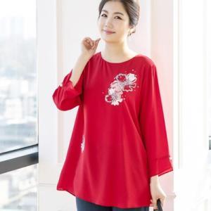 ブラウス レディース 40代 50代 60代 ファッション 女性 上品  赤  紺 青 長袖 きれいめ 通勤 無地 春夏 ミセス|alice-style