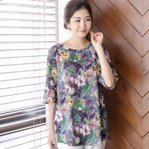 ブラウス レディース 40代 50代 60代 ファッション 女性 上品 5分袖 花柄 フラワー きれいめ 春夏 ミセス|alice-style
