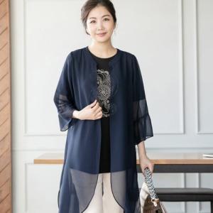 ジャケット レディース 40代 50代 60代 ファッション 女性 上品  黒 薄手 シースルー ロング丈 きれいめ 春夏 ミセス|alice-style
