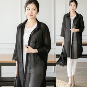 ロングジャケット レディース 40代 50代 60代 ファッション 女性 上品 きれいめ 通勤 シースルー 薄手 春夏 ミセス|alice-style