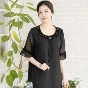 ブラウス レディース 40代 50代 60代 ファッション 女性 上品  黒 半袖 無地 きれいめ 通勤 春夏 ミセス|alice-style