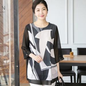ブラウス レディース 40代 50代 60代 ファッション 女性 上品  黒  グレー 7分袖 きれいめ 幾何学模様 通勤 春夏 ミセス|alice-style
