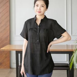トップス レディース 50代 60代 ファッション 女性 上品  黒  紺 青 ブラウス 半袖 無地 春夏 ミセス 大きいサイズ|alice-style