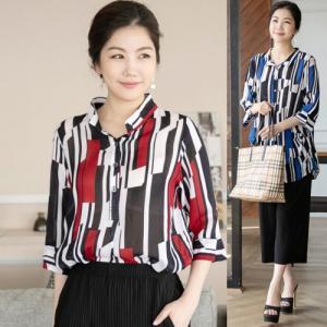 ブラウス レディース 40代 50代 60代 ファッション 女性 上品  赤 7分袖 ゆったり きれいめ 幾何学模様 春夏 ミセス|alice-style