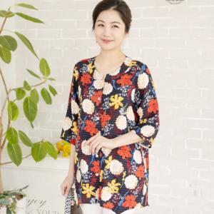 ブラウス レディース 40代 50代 60代 ファッション 女性 上品 花柄 フラワー 7分袖 きれいめ 春夏 ミセス|alice-style