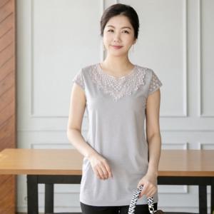 トップス レディース 40代 50代 60代 ファッション 女性 上品  黒  グレー Tシャツ 半袖 レース配色 無地 春夏 ミセス|alice-style