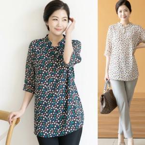 ブラウス レディース 50代 60代 ファッション 女性 上品 シャツ 柄 7分袖 きれいめ 春夏 ミセス 大きいサイズ|alice-style