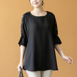 ブラウス レディース 40代 50代 60代 ファッション 女性 上品  黒 7分袖 無地 きれいめ 春夏 ミセス|alice-style