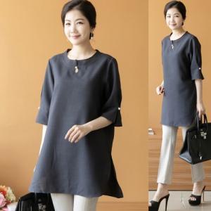 ブラウス レディース 50代 60代 ファッション 女性 上品 5分袖 無地 トップス 春夏 ミセス 大きいサイズ|alice-style