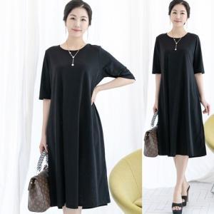 ワンピース レディース 40代 50代 60代 ファッション 女性 上品  黒 半袖 無地 膝丈 きれいめ 通勤 春夏 ミセス|alice-style