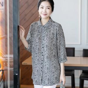 ブラウス レディース 40代 50代 60代 ファッション 女性 上品 7分袖 きれいめ 柄 春夏 ミセス|alice-style