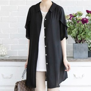シャツ レディース 40代 50代 60代 ファッション 女性 上品  黒 無地 ロング丈 半袖 トップス きれいめ 春夏 ミセス|alice-style