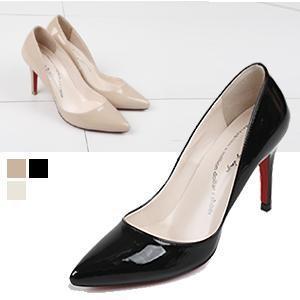 パンプス レディース ポインテッドトゥ レッドソール 黒 エナメル 靴  婦人靴 美脚 ピンヒール ハイヒール|alice-style