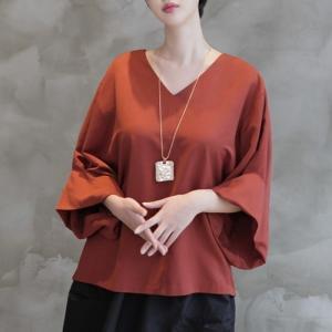 ブラウス レディース 大人 ゆったり 無地 Vネック きれいめ 体形カバー 秋冬 40代 50代 60代 ファッション 女性 上品 ミセス 茶色 alice-style