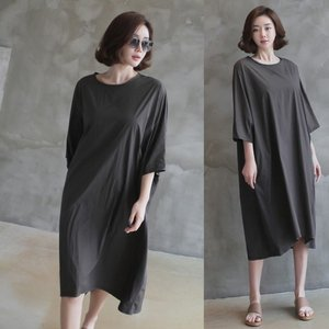 シャツワンピース レディース 大人 七分袖 柄 体形カバー 夏 50代 40代 60代 ファッション 女性 グレー alice-style