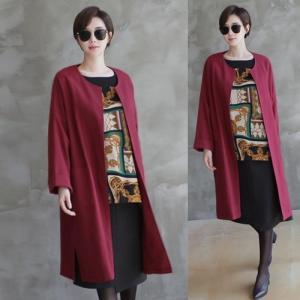 ノーカラージャケット レディース 大人 ロング丈 ロングジャケット 春秋冬 50代 40代 ファッション 女性 黒 赤 ベージュ alice-style