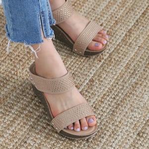サンダル レディース ウェッジヒール ウェッジソール 2019 春 ファッション 靴 婦人靴 黒 ベージュ|alice-style
