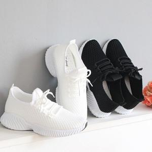 スニーカー レディース レースアップ メッシュ 2019 春 ファッション 靴 婦人靴 黒 白|alice-style