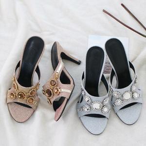 サンダル レディース ミュール キラキラ ビジュー ハイヒール ピンヒール 2019 春 ファッション 靴 婦人靴|alice-style