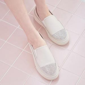 スリッポン レディース 厚底 本革 レザー ラインストーン 2019 春 ファッション 靴 婦人靴 黒 白 ベージュ|alice-style