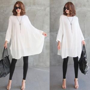 チュニック 無地 ワンピース 春 レディース 大人 体形カバー 新作 ワンピ 40代 50代 60代 ファッション 白 大きいサイズ 女性 上品|alice-style
