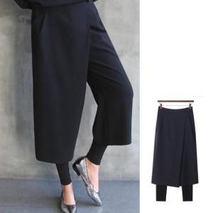 パンツ レディース 40代 50代 60代 ファッション おしゃれ 女性 上品  黒 無地 ラップスタイル ワイド レギンスパンツ 冬 ミセス|alice-style