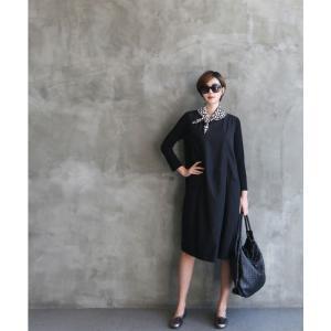 ワンピース レディース 40代 50代 60代 ファッション 女性 上品 ミセス 黒 体型カバー きれいめ 高級感|alice-style|20